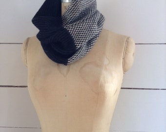 The Union Menswear Cowl in Charcoal/Natural/Black