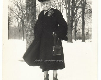 vintage photo Older Woman in Snow Coat Hat Purse Boots Flowers Corsage 1930s snapshot