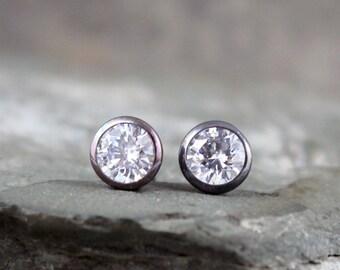 6mm Cubic Zirconia Dot Earrings - Black Sterling Silver - Stud Earrings - Made in Canada - Men's & Ladies Earrings - Dark Oxidized Finish