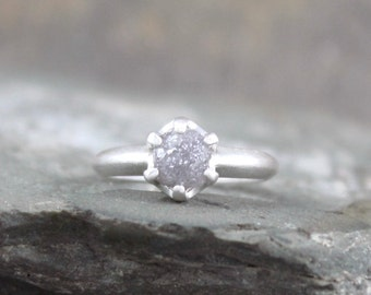 Raw Diamond Engagement Ring - Uncut Rough Diamond - Conflict Free Diamond - Engagement Rings - April Birthstone - Raw Gemstone Ring - Rustic