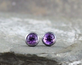 5mm Amethyst and Black Sterling Silver Dot Earrings - Stud Earrings - February Birthstone- Men's & Ladies Earrings - Dark Oxidized Finish
