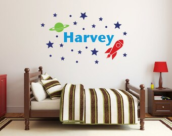 Space wall decals, Personalized name wall decals, Star wall decals, Boys room decor, Wall stickers for bedroom, Wall letters for nursery 357