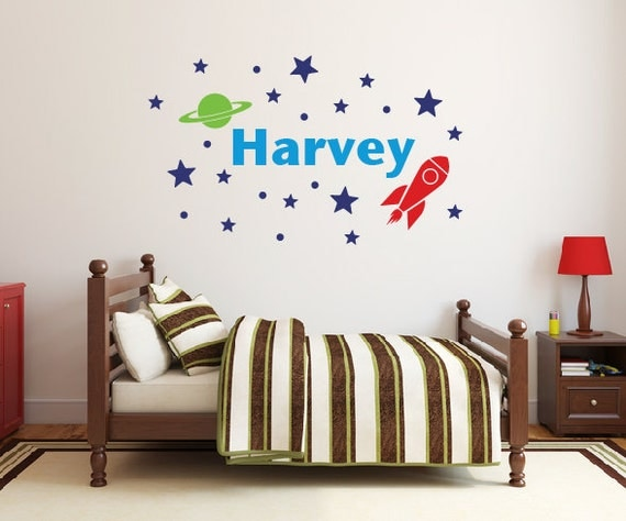 Outer space name wall decal DB357 by designedbeginnings on Etsy