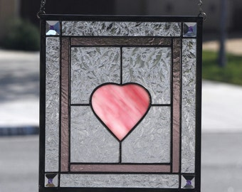LOVE-Contemporary Stained Glass Panel with Pink Heart, Clear Textured Glass,  Dichroic Bevels, Dusty Rose, Romantic, Valentine's Day