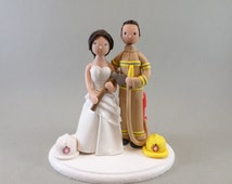 Cake Topper Bride & Groom Personalized Firefighter Wedding