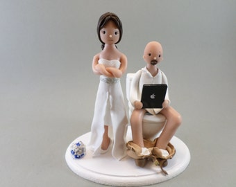 Bride & Groom on a Toilet Seat Custom Handmade Wedding Cake Topper