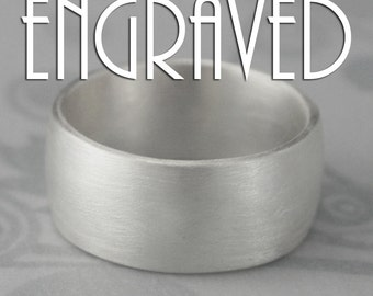 Plain Jane 10mm Ultra Wide Solid Sterling Silver Wedding Band--Low Dome Rounded Ring--Custom Inside Engraving with YOUR Special Message