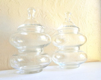 Set of Clear Bubble Glass Stacking Jars with Lids 4 Four with Lids