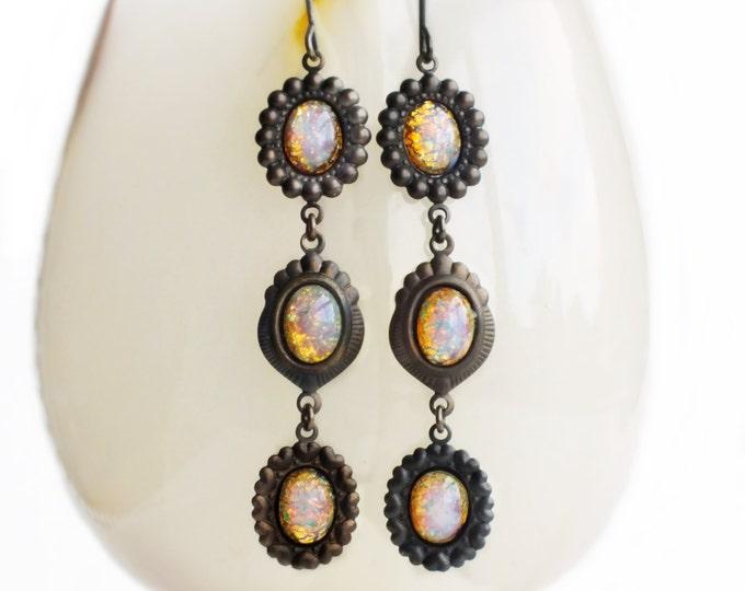 Long Opal Earrings Opal Dangles Vintage Harlequin Fire Opal Drop Earrings Pink Opal Dangle Earrings Vintage Victorian Opal Jewelry