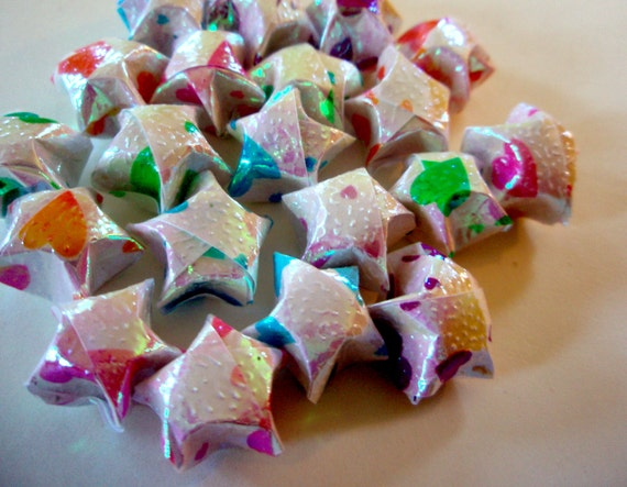 20 Iridescent Hearts Origami Lucky Stars - Confetti, Table Decor, Gift Enclosure, Party Decoration