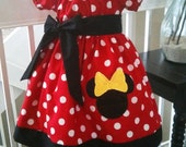 Minnie Mouse Red Polka dots Dress and Black with Applique