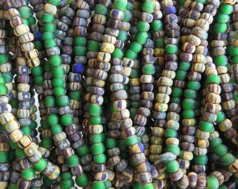6/0 Matte Aged Verde Striped Picasso Czech Glass Seed Beads 3 Strand Hank (AW225)