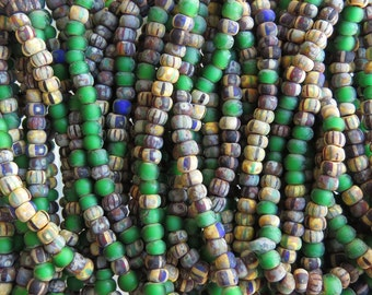 6/0 Matte Aged Verde Striped Picasso Czech Glass Seed Beads 6 Strand Hank (AW226)