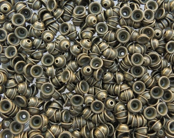 8mm (2mm Hole) Antique Brass Base Metal Bead Caps - Qty 20 (G316)