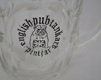 last chance Vintage ENGLISH PUB Tankard Pint Jar Beer glass bulldog