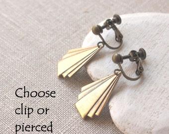 Art deco earrings, Antiqued Brass Art Deco dangle earrings, Geometric HOOKS or CLIP Ons, Brass Art Deco Fan drop earrings E620