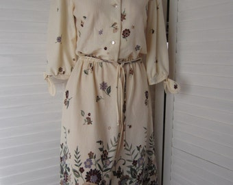 Dress, Cream Print with Border by Stroller from 70s or 80s - Size M