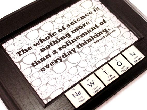 Geek Periodic Table Picture Frame Black - Einstein Quote - Nerd