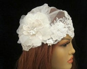 Juliet Cap Veil Bridal Vintage Inspired Scallopped Edge Lace Wedding Accessories  Headpiece
