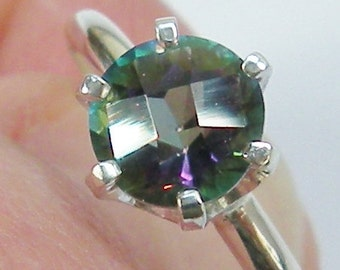 Mystic Topaz Ring, Ring Size 7 75, Pink Blue Green, Vintage Glam Ring, Opalescent Ring, One Ring Only, Six Prong Setting, Mother's Day Gift