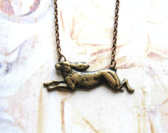 Leaping - Oxidized Brass Running Rabbit or Hare and Copper Chain Handmade Necklace with Gift Box