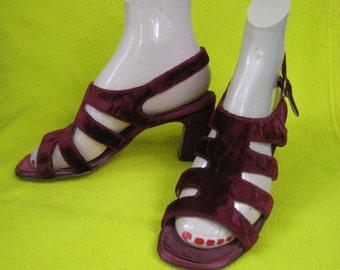 1960s Burgandy Crushed Velvet Heeled Sandals