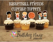 Basketball Friends Party - Set of 12 Assorted Basketball Player Cupcake Toppers by The Birthday House