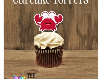 Ariel & Friends Party - Set of 12 Sebastian Crab Cupcake Toppers by The Birthday House