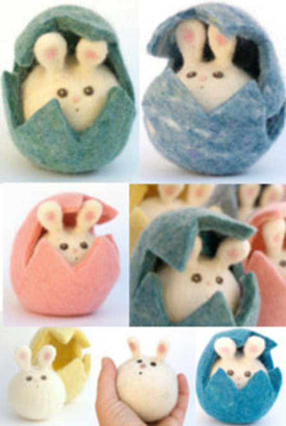 Felted Bunny in an Easter Egg, Needle Felted Toy, Beautiful, Heirloom