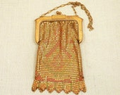 RESERVED for millidiamant =============== Antique Art Deco Whiting & Davis Gold Mesh Purse with Red, Orange, and Green Enamel