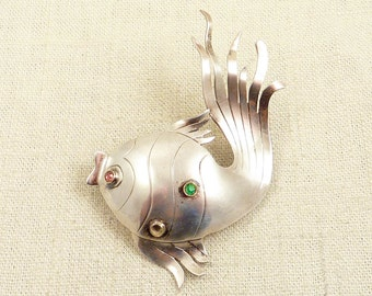 SALE --- Vintage Sterling Large Bubble Fish Brooch with Rhinestone Glass Accents
