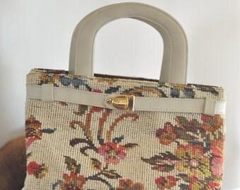 English vintage handbag embroidered Mary Poppins 1940's Tapestry Carpetbag Handbag Purse antique