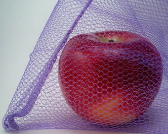 Reusable Produce Bags - Set of 2 Lavender Nylon Mesh Bags
