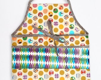 Apron , Smock , Laminated , Unisex , Toddler , Child , Panda Dots