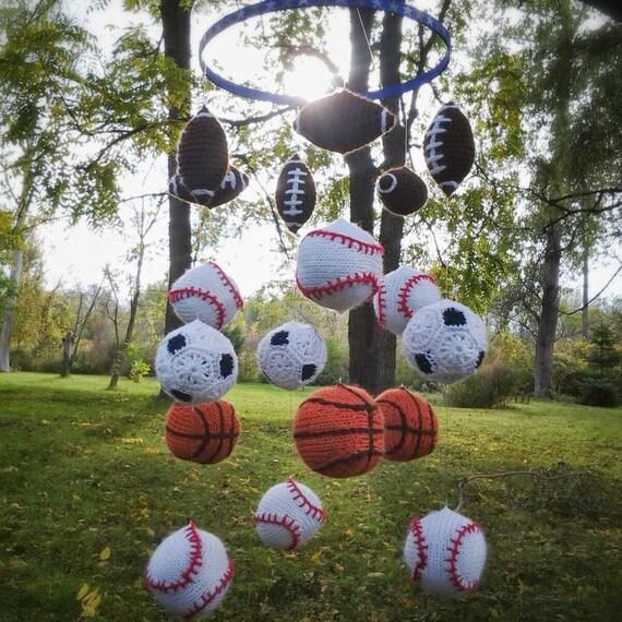 sports themed mobile baby crib nursery football baseball. Black Bedroom Furniture Sets. Home Design Ideas