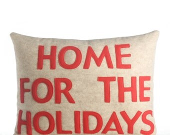 "Decorative Pillow, Throw Pillow, ""Home For The Holidays"" pillow, 14X18 inch"