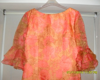 Vintage  70s Maxi Dress, Orange Floral with Ruffled Bell Sleeves, Size 12/14
