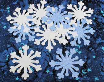 SIX Fabric Applique Iron-On Snowflakes - White or Blue Fairy Frost fabric