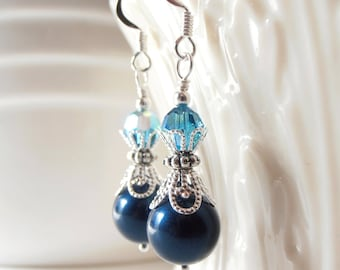 Wedding Jewelry, Dark Teal Pearl Earrings, Ocean Blue Wedding Jewelry, Bridesmaid Earrings, Dark Petrol Swarovski Pearl Dangles, Blue Green