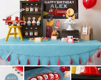 Firetruck Party Decorations, Firetruck Birthday Party Decor, Fireman Party, Boy Birthday, DIY Party Collection Party Kit
