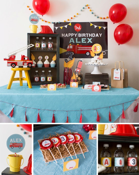Firetruck Party Decorations Firetruck Birthday Party Decor