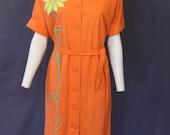 1960's bright ORANGE SHIRT DRESS with sunflower appliqué