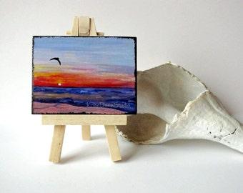 Miniature Ocean Sunrise Painting contemporary fine art acrylic on wood mini ACEO with easel original ooak tiny art for shelf colorful sea
