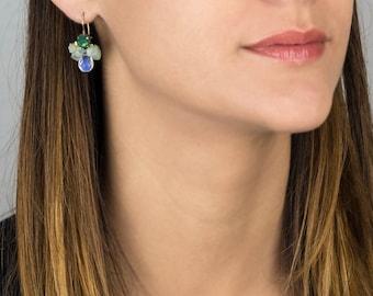 Bee Earrings, Swarovski Crystal Aquamarine Opalite Bee Earrings in Copper, Unique Bee Earrings, Summer Jewelry, Delicate Earrings