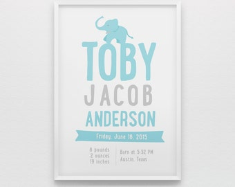 Newborn baby birth stats nursery wall art print gift, personalized poster, blue gray grey, elephant, nursery art boy, new baby boy gift,