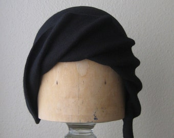 """Black Wool Felt Cloche With Art Deco Styling - Elegant Pleated Flapper Hat - 1920s Chic - Size 22"""" - Ready To Ship"""