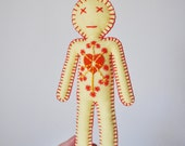 Elemental Doll - Fire - Spirit of nature dolls - orange yellow embroidered doll with radiant sun heart - hand embroidered - OOAK