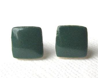 Petite Porcelain Earrings. Teal Green Glazed Squares. Pine Tree. Midnight Green. Post/Stud Earrings. Surgical Steel. Cube. Geometric. Simple