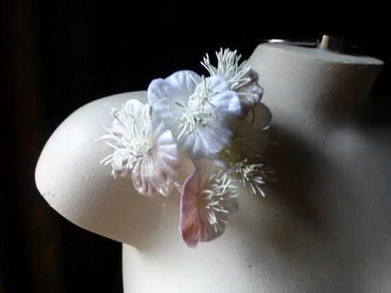 Blush and White Velvet Millinery Flower YoYos in for Bridal, Headbands, Fascinators, Floral Supply MF 215