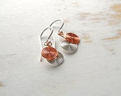 Copper and Silver Earrings, Mixed Metal Jewelry, Spiral Earrings, Copper Wire Jewelry, Dainty Earrings, Everyday Jewellery, Kinetic Earrings